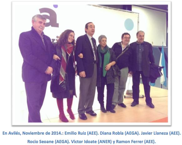 En Avilés, Noviembre de 2014.: Emilio Ruiz (AEE). Diana Robla (AEGA). Javier Llaneza (AEE). Rocio Seoane (AEGA). Victor Idoate (ANER) y Ramon Ferrer (AEE).
